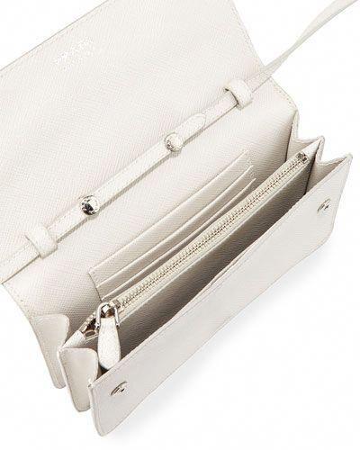 2503d8ee5ae9 V2SMC Prada Small Saffiano Leather Wallet on a Strap, White (Talco)  #Pradahandbags