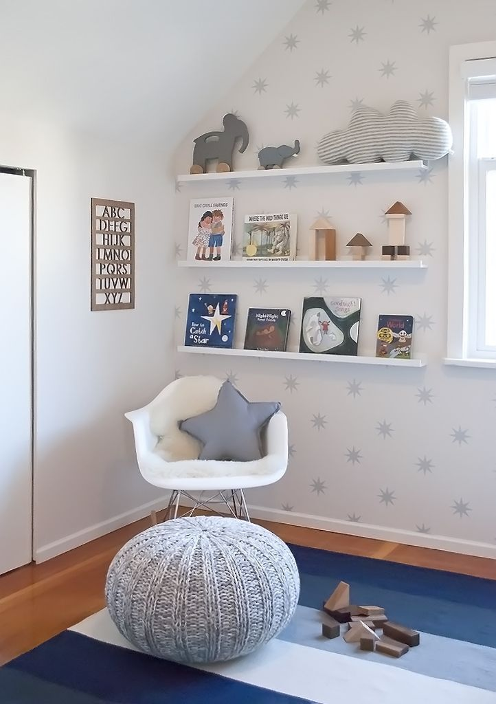 Reading Corner in a Modern Toddler Room http://projectnursery.com/projects/hudsons-toddler-boy-transition/
