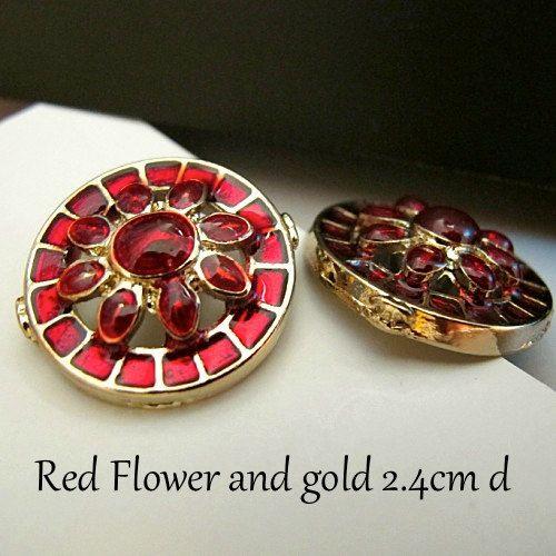 x5 Retro Vintage style red crystal flower by CRAFTFIXESANDMORE, $18.90