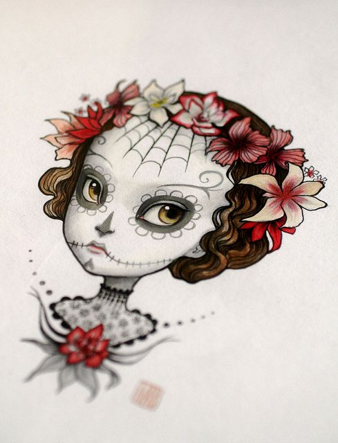 Cute idea for a tattoo -  Dia de Los Muertos illustration by Mab Graves by mab graves, via Flickr