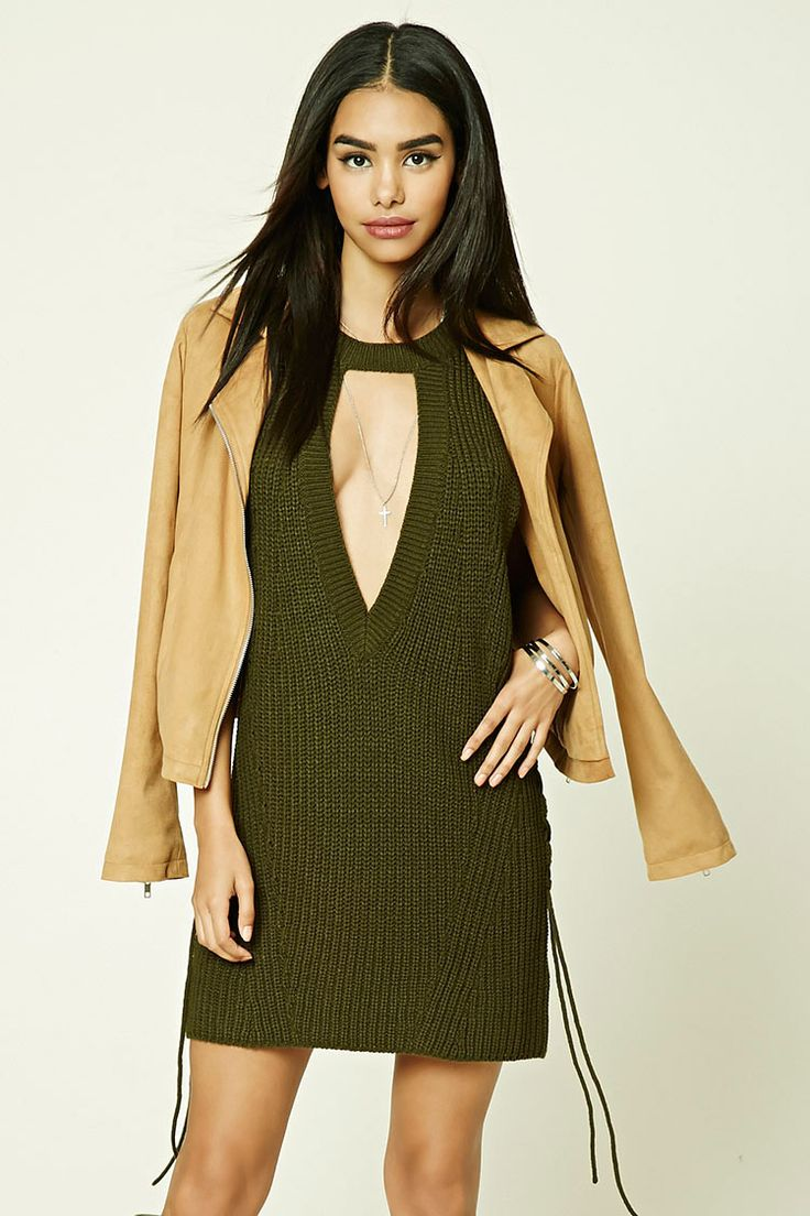 A sweater knit dress featuring a sleeveless cut, ribbed round neckline, a deep triangle cutout in front, dropped armholes and crisscrossing lace-up ties at the sides.