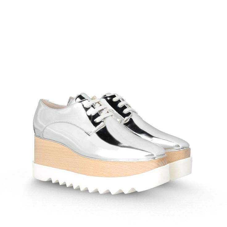 Stella McCartney - Silver Britt Shoes  #Wedges #SS15 #Silver