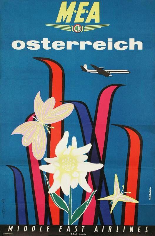 Middle East Airline, Vintage Poster 1960