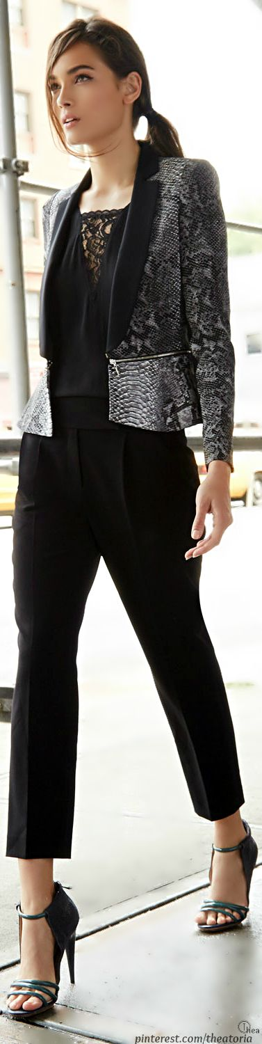 Chic In The City- Python-Print Blazer &  Cropped Trousers- #LadyLuxuryDesigns