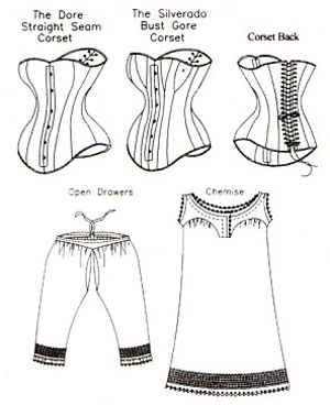 victorian unmentionables; chemise corset drawers, patterns by Truly Victorian