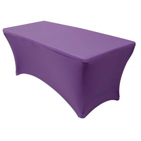 6 FT Rectangular Spandex Table Covers Purple | Wholesale Tablecloths