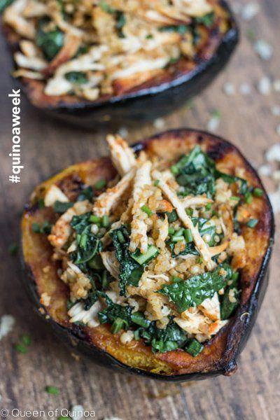 Chipotle Chicken & Quinoa Stuffed Acorn Squash - celebrating #quinoaweek with Bob's Red Mill
