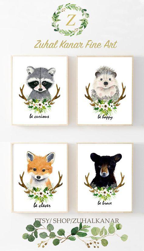 Woodland Animals Print Set Of 3 Nursery Custom Name Custom