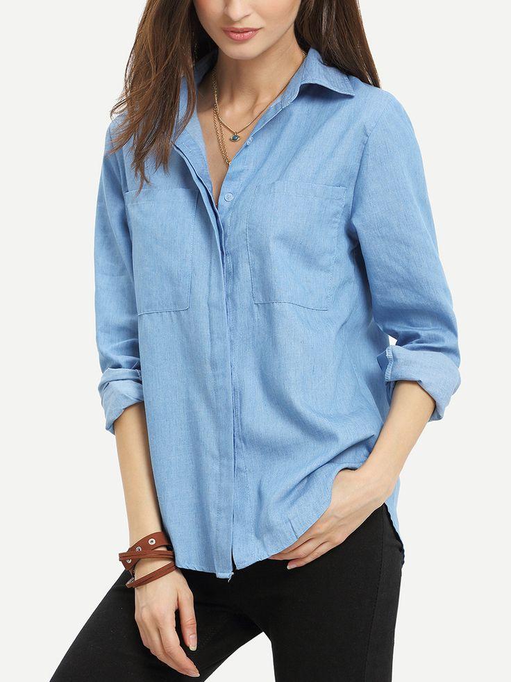 Shop Blue Lapel Long Sleeve Pockets Denim Blouse online. SheIn offers Blue Lapel…