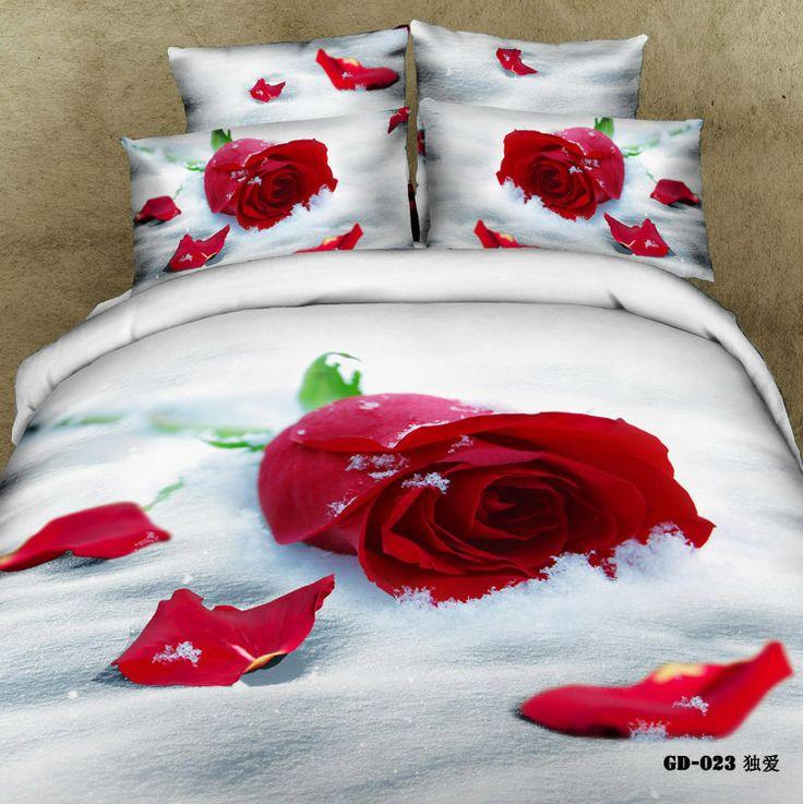 6 pces frete grátis 3d grande rosa impresso lençóis 3d bed linens 3d conjuntos de cama- gd- 023- 6
