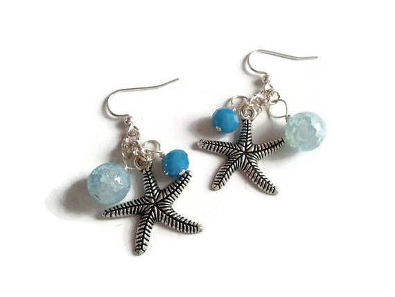 Starfish Earrings with Turquoise Crystal Rondelle and Light Blue Crackle Quartz