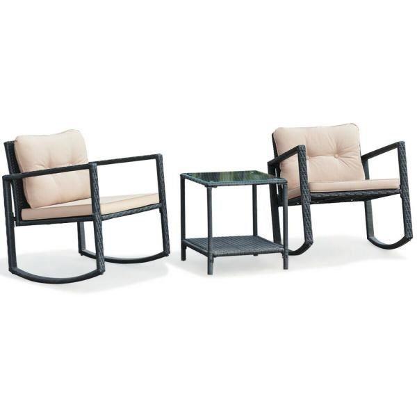 Pin On Garden Furniture, 3 Piece Wicker Patio Conversation Set With Beige Cushions