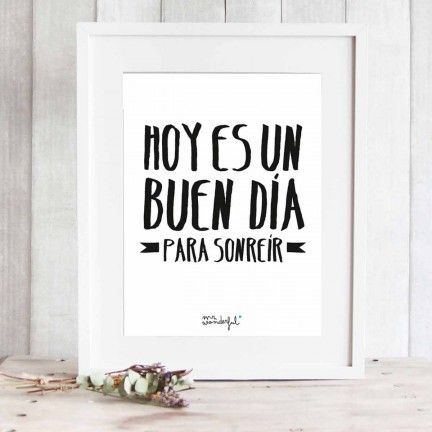 "Lámina ""Hoy es un buen día para sonreír"". Diseño de Mr.Wonderful. A la venta en: http://www.mrwonderfulshop.es"