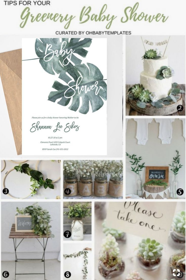 Tropical Leaves Baby Shower Invites Greenery Baby Shower