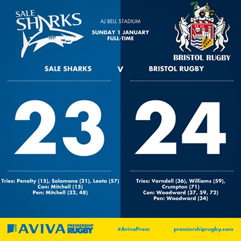 The Sale Sharks 23 - 24 Bristol Rugby Club.