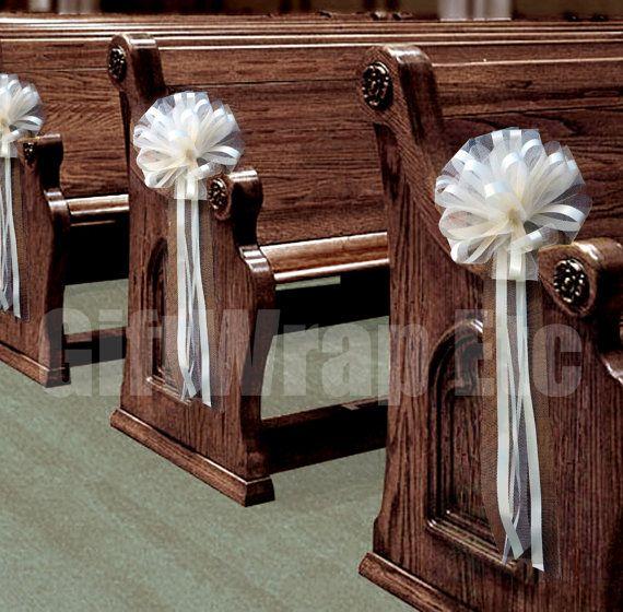 6 Large Ivory Tulle Pull Bows Wedding Pew by giftwrapetc on Etsy