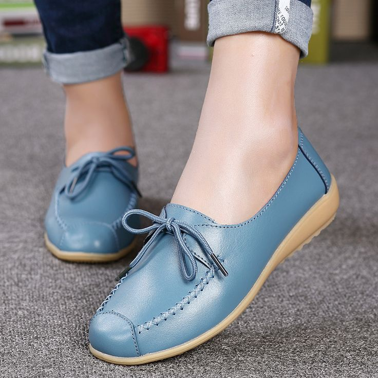 Surprising Day New Women's Casual Shoes Genuine Leather Woman Loafers Slip On Female Flats Leisure Ladies Driving Shoe Solid Mother Boat Shoes LightBrown 11