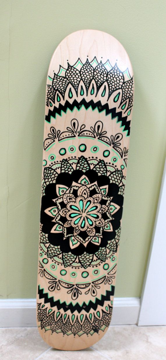 Skateboard Design Ideas heather brown original painting on bamboo skateboard Hand Painted Skateboard