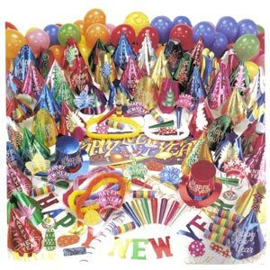 "Centennial Party Kit for 100 people.     Contains 50 full size dazzling hats, 50 tinsel tiaras, 50 9"" foil horns, 50 metal noisemakers, 50 Hawaiian poly leis, 50 colourful balloons, 200 flame resistant serpentine throws, 1 New Year Banner & 1 40"" x 13"" Happy New Year Sign."