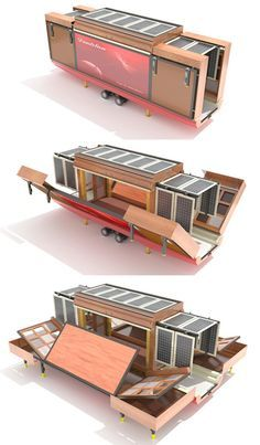 The renderings are as matter-of-fact as the design: a no-nonsense, use-all-spaces approach to mobile and quickly-deployed housing @ http://dornob.com/unboxed-surprisingly-spacious-flat-pack-house-on-wheels/