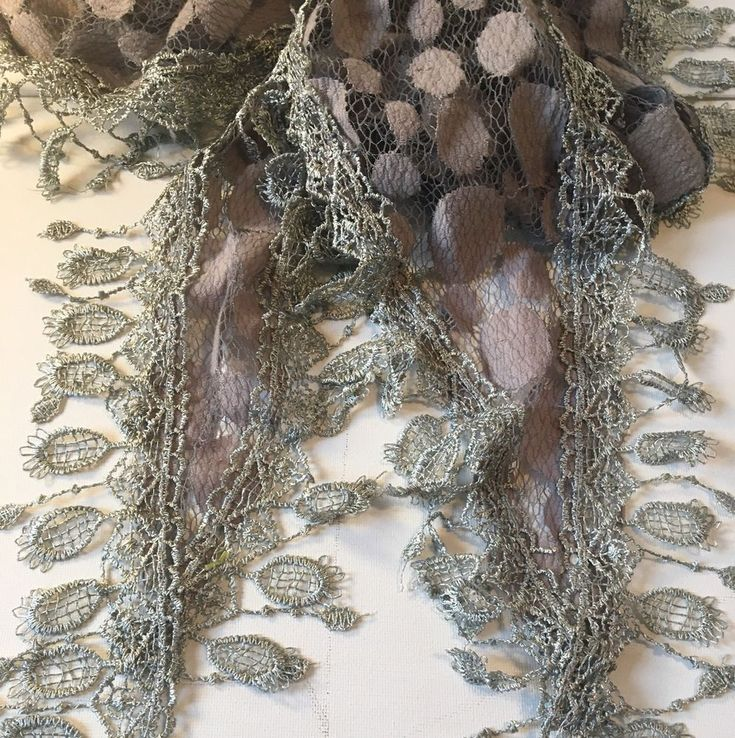 Woman's Lace Scarf Shawl Gray Cover Silver Sheer Scrunchy Party Wrap  | eBay