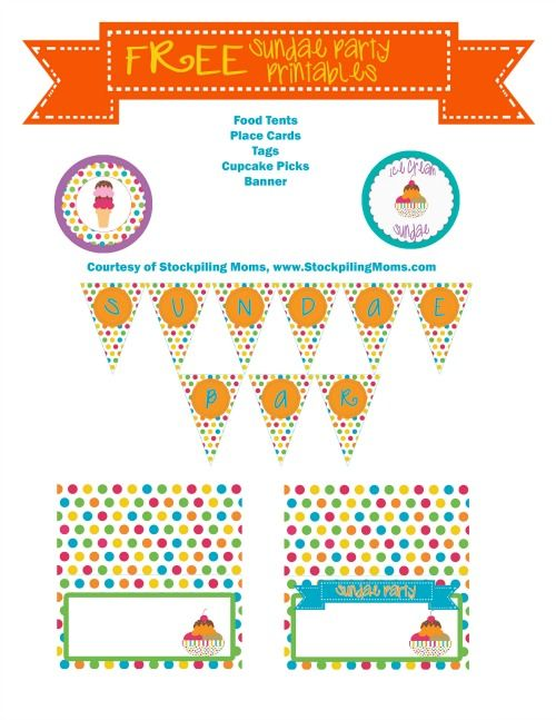 We have Free Sundae Party Printables for you!  A great party for the summer! #kids
