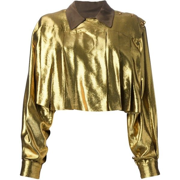 JEAN PAUL GAULTIER VINTAGE metallic cropped shirt (7 940 UAH) ❤ liked on Polyvore featuring tops, metallic crop top, long sleeve crop top, vintage 80s t shirt, vintage shirt and one shoulder crop top