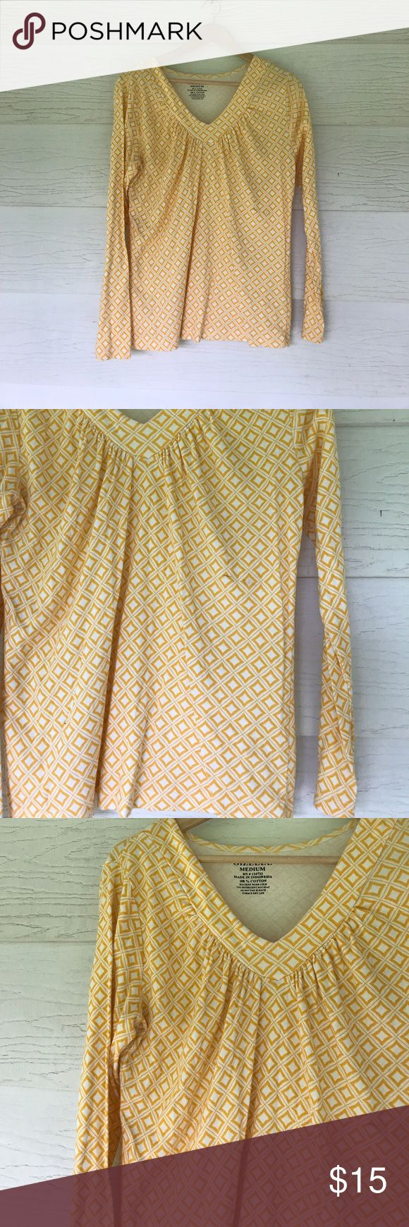 Yellow long sleeve top Size medium. Yellow printed long sleeve top. Tops Tees - Long Sleeve
