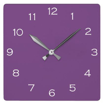 White Numbers On Purple Wall Clock  $29.95  by TrendsandTrinkets  - cyo customize personalize diy idea