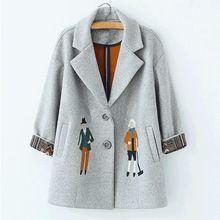2016 осень женщины пальто, Европейская мода Женский шерстяной куртки Вышивка пиджаки зима серые пальто кашемировые пальто femme C0361(China (Mainland))