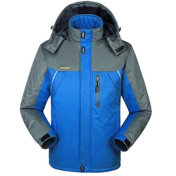 Plus Size Hooded Multi-Zipper Color Spliced French Front Long Sleeves Flocky Men's Ski Jacket #shoes, #jewelry, #women, #men, #hats, #watches, #belts