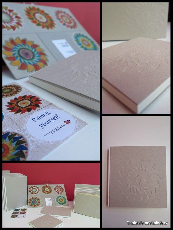 """New series of notebooks: """"Paint it yourself"""". Embossed design that you can paint over with pencils / crayons / tempera etc. White resistant fabric on the spine. Diverse sizes, paper quality and number of pages."""