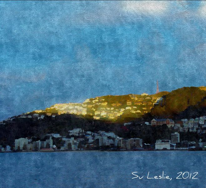 Last rays: the sun setting over Oriental Bay, Wellington, NZ. Photo: Su Leslie, 2012. Shot with iPhone4, edited with Pixlr Express.
