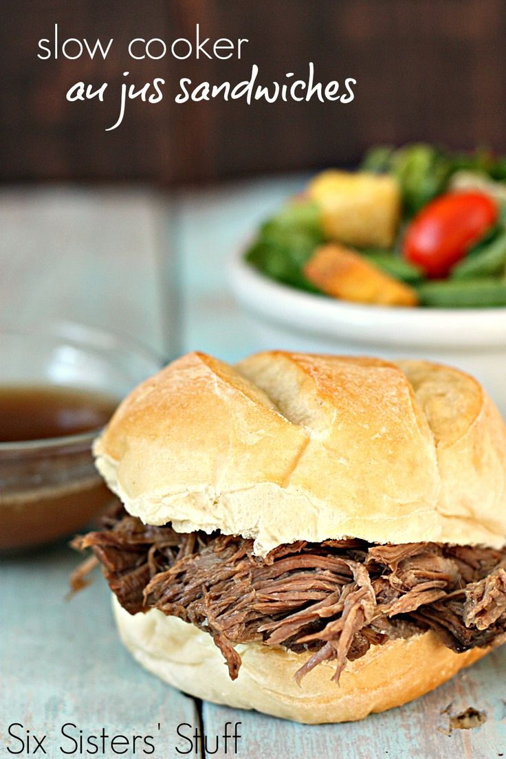 Slow Cooker Au Jus Sandwiches on SixSistersStuff.com - an easy recipe that can be thrown together in seconds!