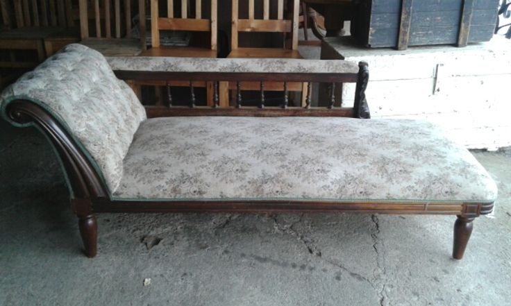 SOLD! #NorthcliffAntiques #Chaise-lounge, the design of the chaise-lounge allowed the occupant to lie or recline along its length. #Johannesburg #LoungeFurniture #Wood #Antiques