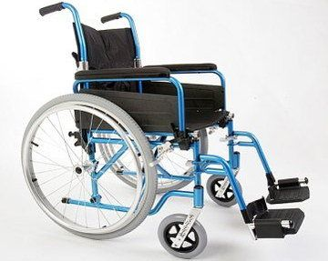 Padded Lightweight Folding Wheelchair With Grey Wheels