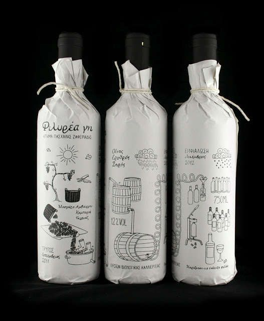 Doodled Bottle Sleeves - Filirea Gi Wine Packaging Illustrates the Process of Vino Preparation (GALLERY)