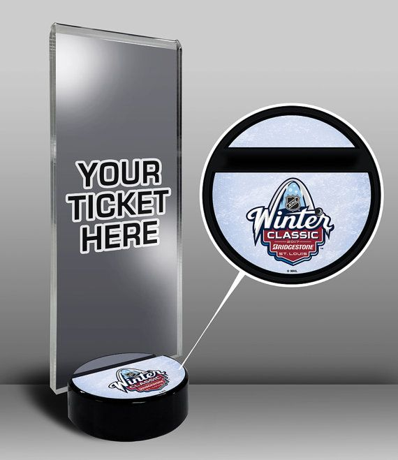 2017 NHL Winter Classic Hockey Puck Ticket Display Stand - Chicago Blackhawks vs St Louis Blues at Busch Stadium