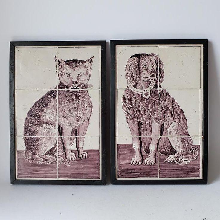 Dutch manganese tile tableau dog and cat ca. 1800 – Stijlvol Ingericht