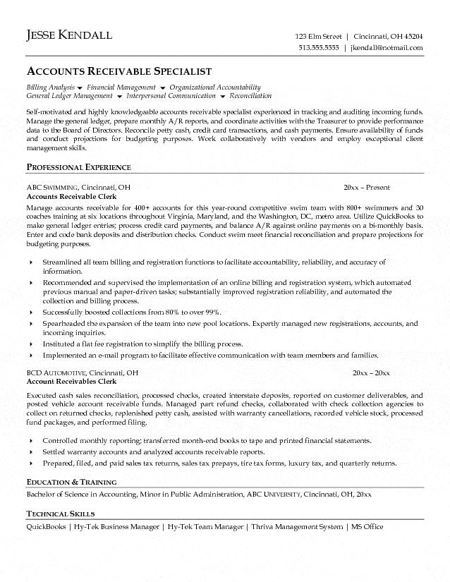 Accounts Receivable Clerk Resume