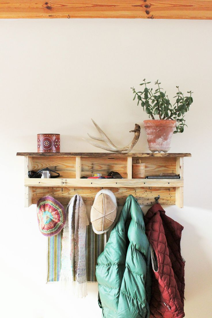 Blued Pine Coat Rack with Cubbies/Beelte Pine Shelf with Cubbies and Cast Iron Hooks/Eco Furniture/Entryway Organizer/Sustainable Furniture by HaulinHoofFarmStore on Etsy