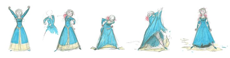 Concept Art, Merida Ripping Her Dress, Brave, 2012. By Matt Nolte.