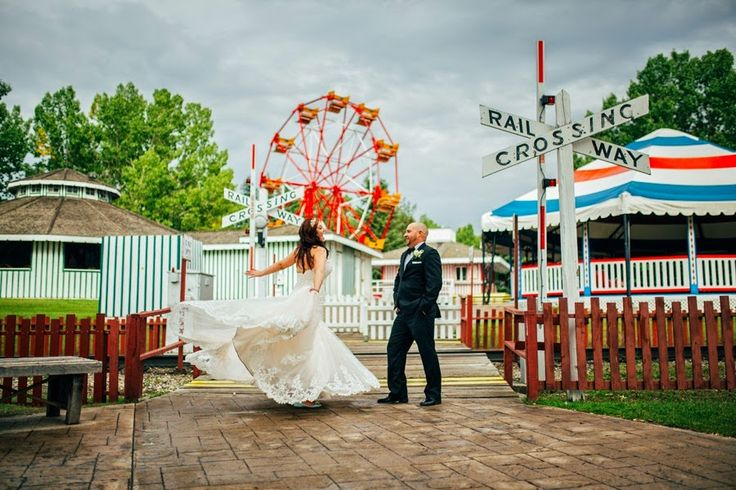 A playful Heritage Park wedding reception with vintage touches.