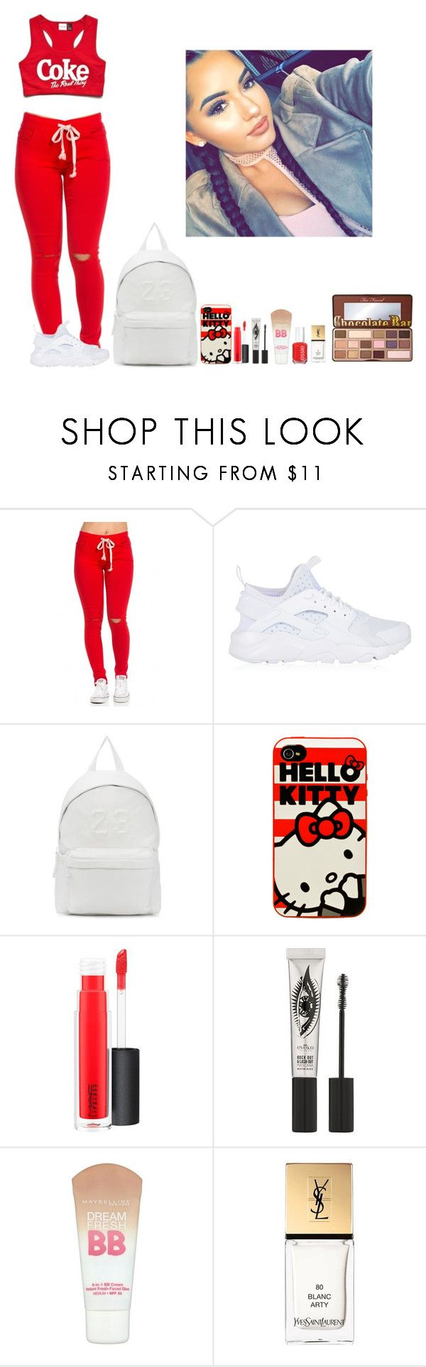 """""""-Glo Queen"""" by thegloup-reina on Polyvore featuring NIKE, Joshua's, Hello Kitty, MAC Cosmetics, Eyeko, Maybelline, Yves Saint Laurent and Too Faced Cosmetics"""