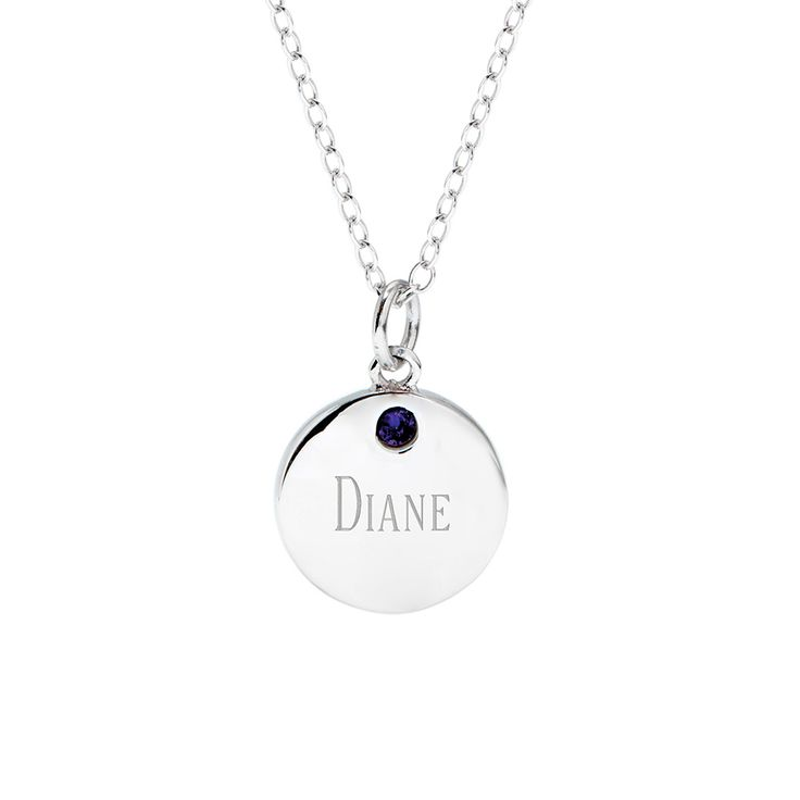 Personalize this round tag charm with an custom birthstone and engravable message! Choose from a variety of chain lengths - a beautiful gift!