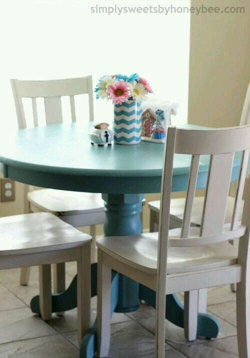 Simple kitchen living room pinterest tables paint for Teal kitchen table