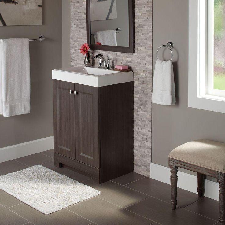 Glacier bay shaila 24 5 in w bath vanity in silverleaf - Cultured marble bathroom vanity tops ...