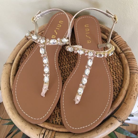 ✨UNISA JEWELED SANDALS✨ Brand new without box!  These are gorgeous!  Clear and light pink rhinestones embellish the gold straps.  Such a great sandal for the spring and summer months. All manmade materials.  TRADESLOWBALL Unisa Shoes Sandals