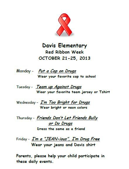Davis Elementary School - Red Ribbon Week Activities Best prices on Shoes And purses GO Here http://astore.amazon.com/kindlelaptcom-20