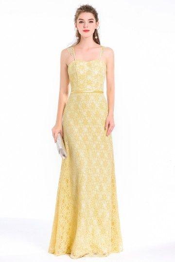 Elégante robe de gala longue jaune pour soirée gala avec bretelles fines  bordées de dentelle délicate 7616d7b86102